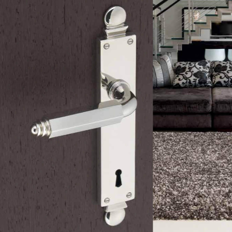 Door Handle Interior Chrome Art Deco Back Plate With Privacy Lock Italian Door Handles
