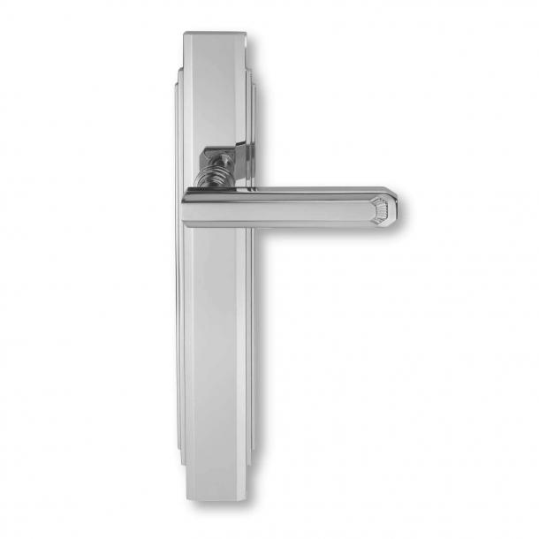 Inomhus dörrhandtag - Polerad krom - Art Deco - Långskylt - C17810