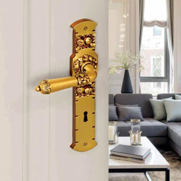 Dørgreb indendørs Messing - Art Nouveau - Langskilt - C09610