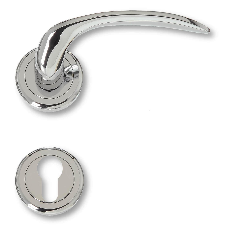 Door Handle Exterior Chrome Rosette And Cylinder Ring Model 480390 Italian Door Handles