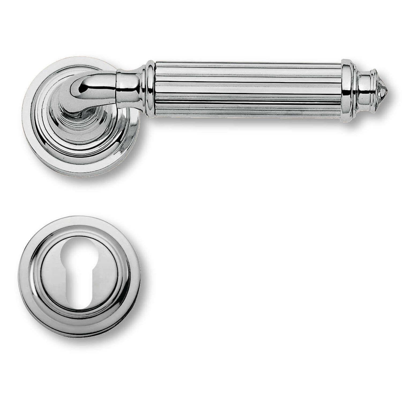 Door Handle Exterior Chrome Rosette And Cylinder Ring Model C15111 Italian Door Handles