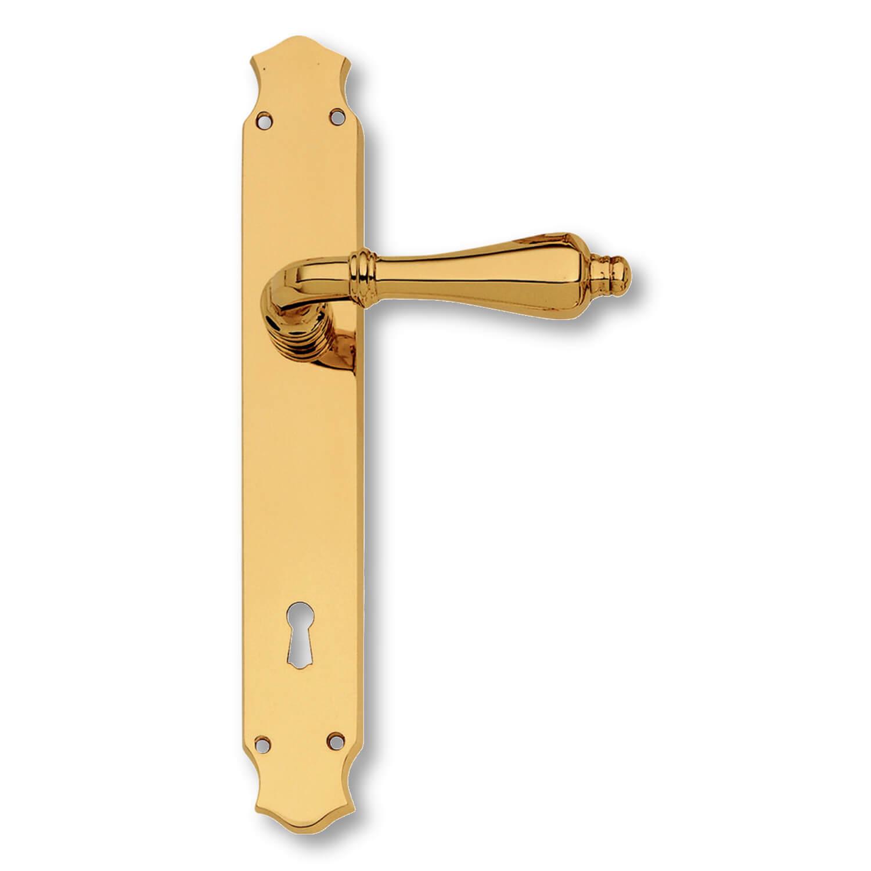 Door handle interior brass back plate xx century model c09910 italian door handles for Interior door handles with backplates