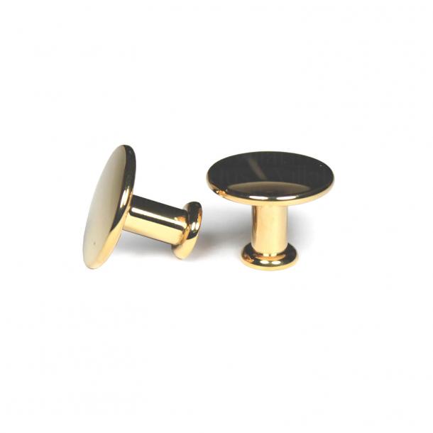 Furniture knob 101 - Polished brass without varnish - 25 mm