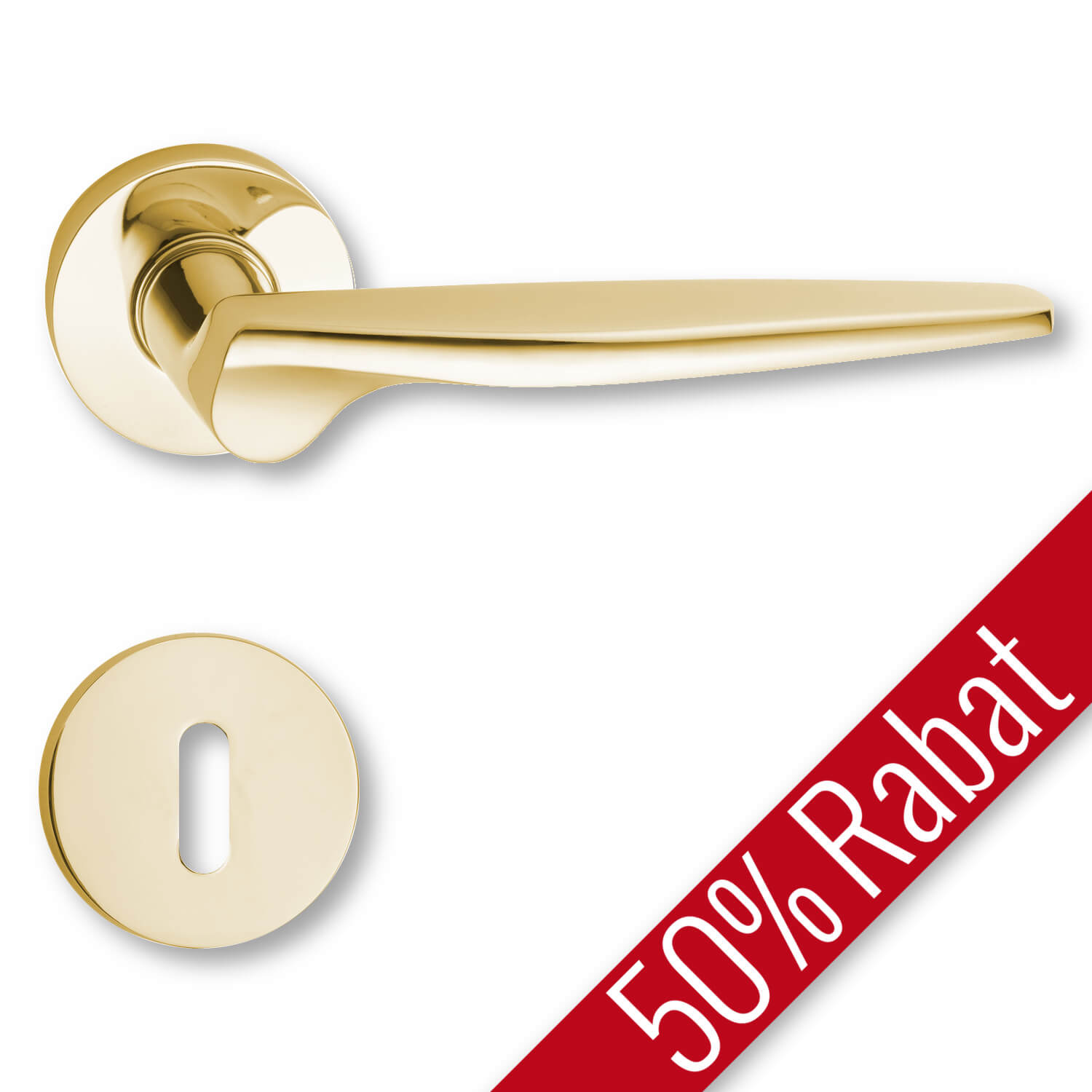 Door Handle Interior Polished Brass Rosette And Escutcheon The 1950s Promotional Price