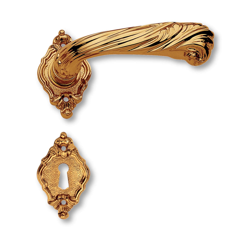 Door handle interior brass rosette escutcheon for Baroque door handles
