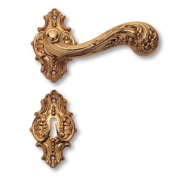Dørgreb indedørs - Messing roset/nøgleskilt - Italiensk Barok - model C01215
