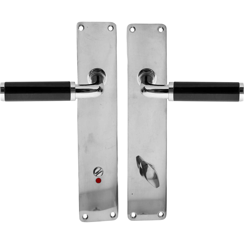 Door handle interior FUNKIS WC - Door backplate - Chrome and black Bakelite - Funkis Door ...