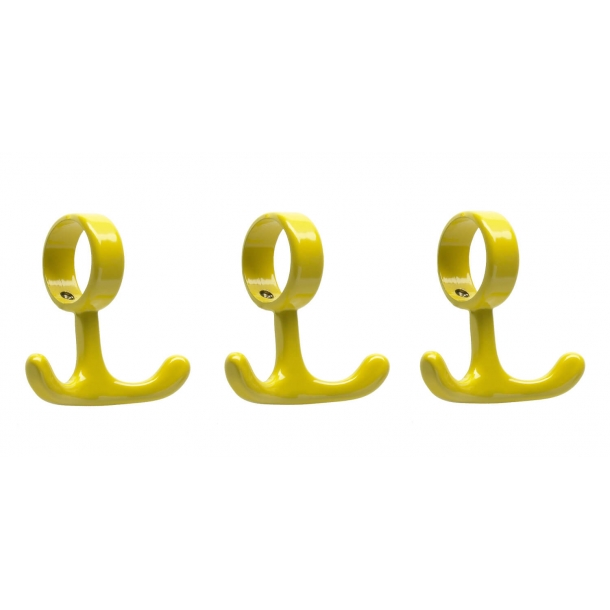 Coat Hooks for tubes - Yellow - 3 pieces