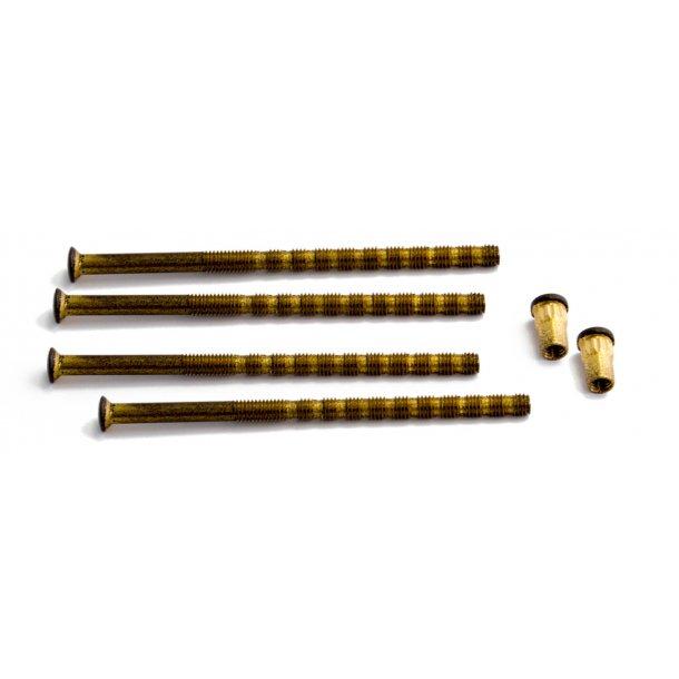 HABO Dørgreb Udendørs - Børstet messing - Dobbelt Cylinderringe - Model A2560