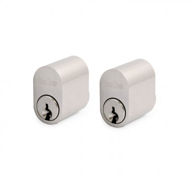 Cylinder 6-pin oval / key stainless look - 2 pcs.