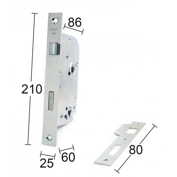 Habo door lock exterior ASSA 6410 Right / left - Galvanized
