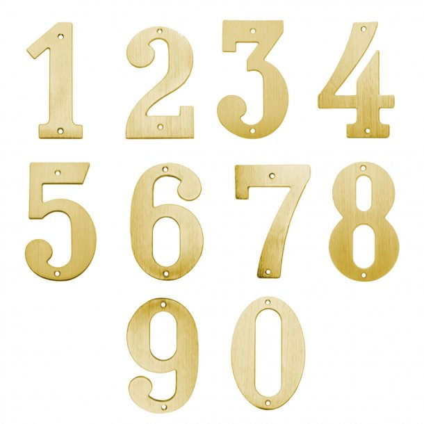House numbers - Large - Brushed brass - Model 572 - 140 mm
