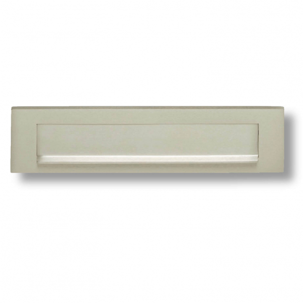 Letter frame with flap and rain edge - Satin Nickel - 325 x 77 mm