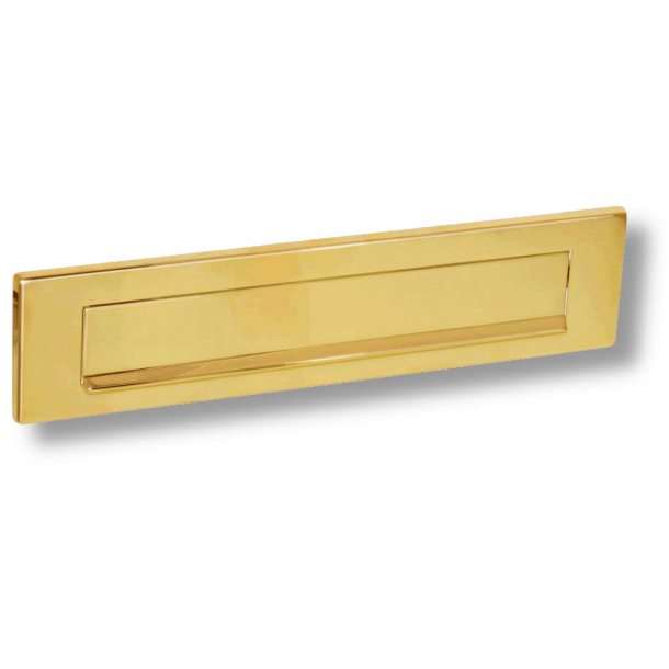 Letter frame with flap and rain edge - Brass without lacquer - 325 x 77 mm