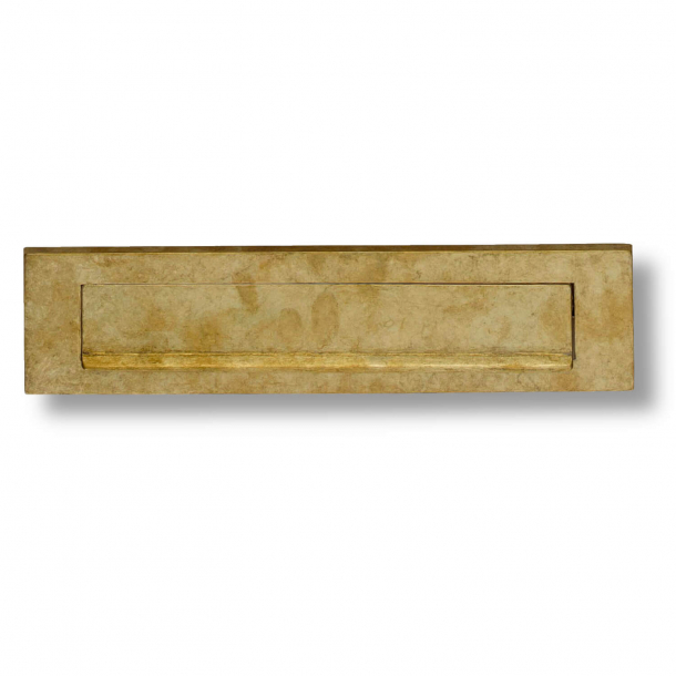 Letter frame with flap and rain edge - Rustic brass - 325 x 77 mm