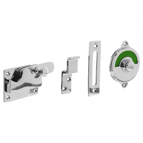 WC lock - Free / Busy sign - Polished chrome - Inward doors