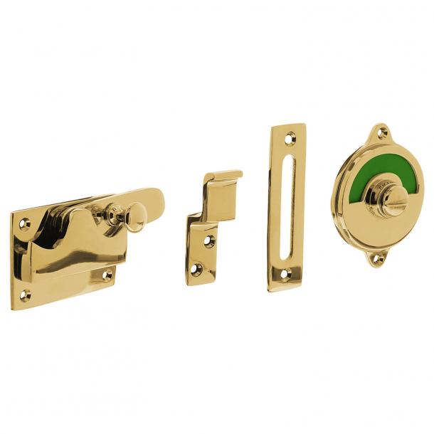 WC-lås - Fri / upptagen skylt - Mässing utan lack - Innerdörrar