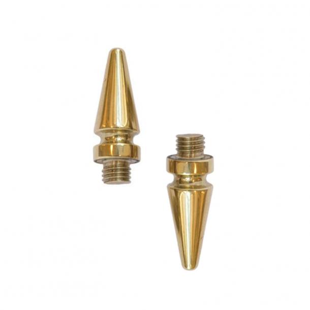 2 pcs. loose studs for Hamburg hinge - Polished brass, Tip, 40mm ø17 mm