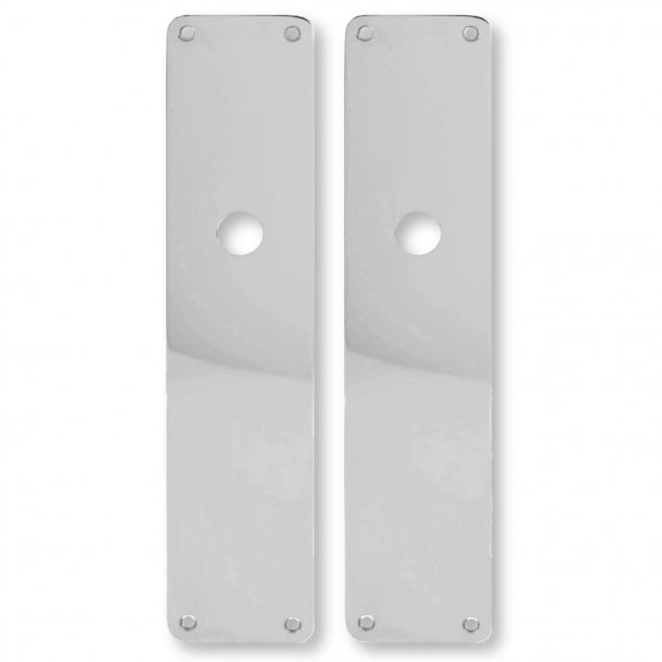 Door back plate, Chrome, Hole for grib, 54 x 235 mm