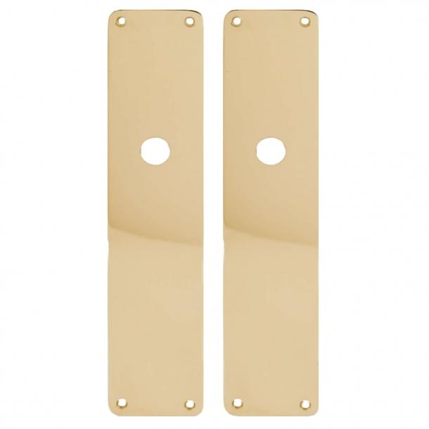 Door back plate brass - Oblong, hole grip