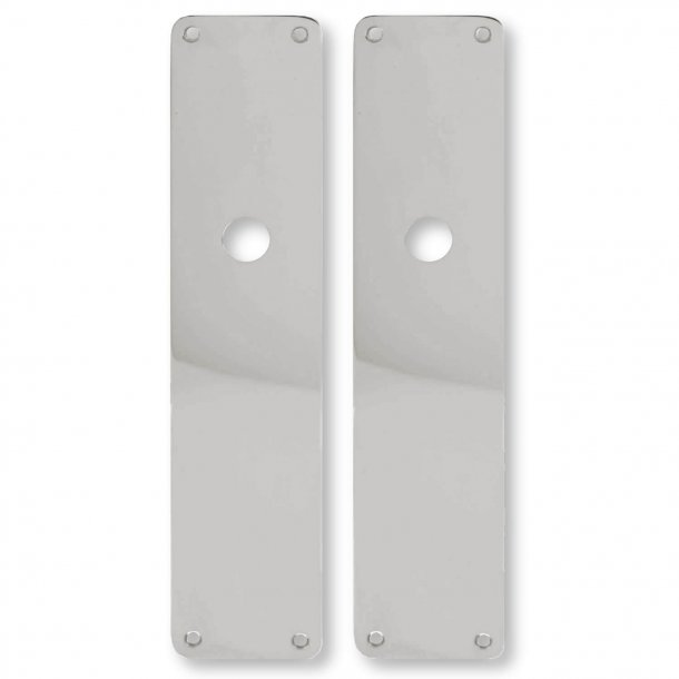 Door back plate, Nickel plated, Hole for grip, 54 x 235 mm
