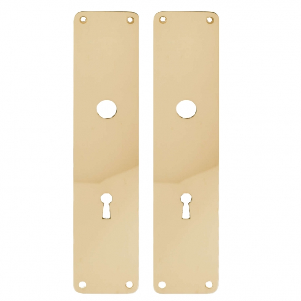 Door back plate brass - Oblong hole for handle and key