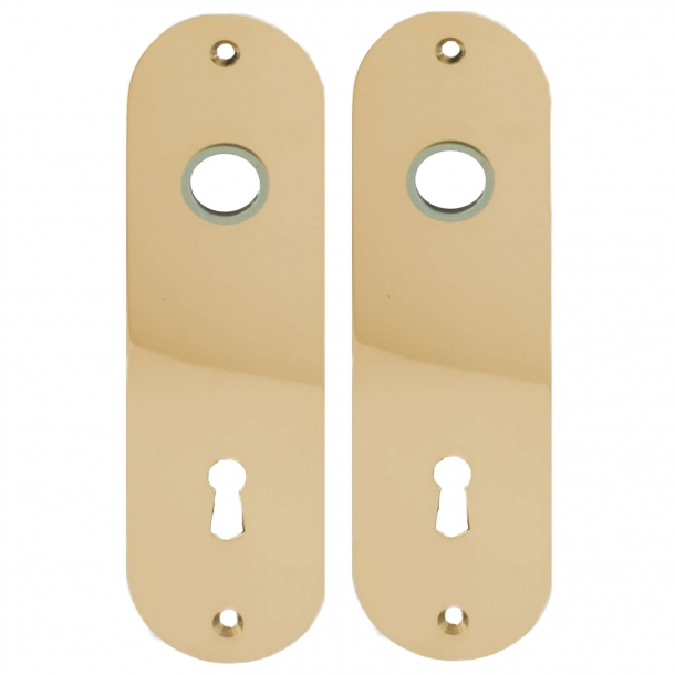 Door back plate brass - Hole for handle and key