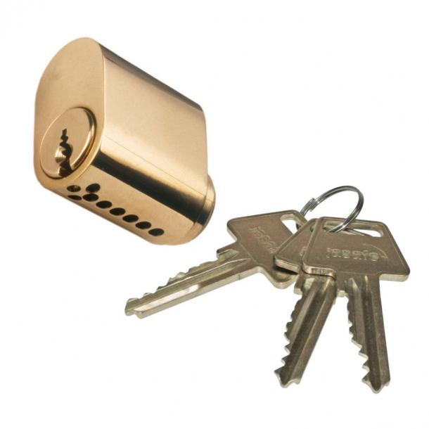 Cylinder 6-stift oval messing - inkl. 3 nøgler