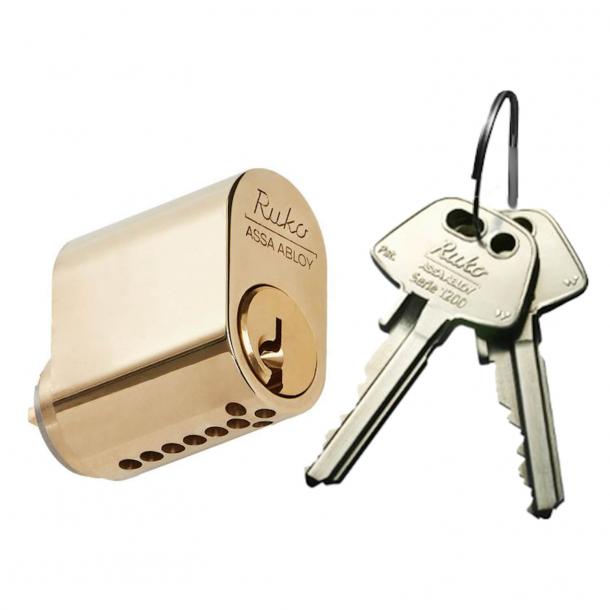 RUKO cylinder 6-stift oval messing - RD1660 M - inkl. 2 nøgler