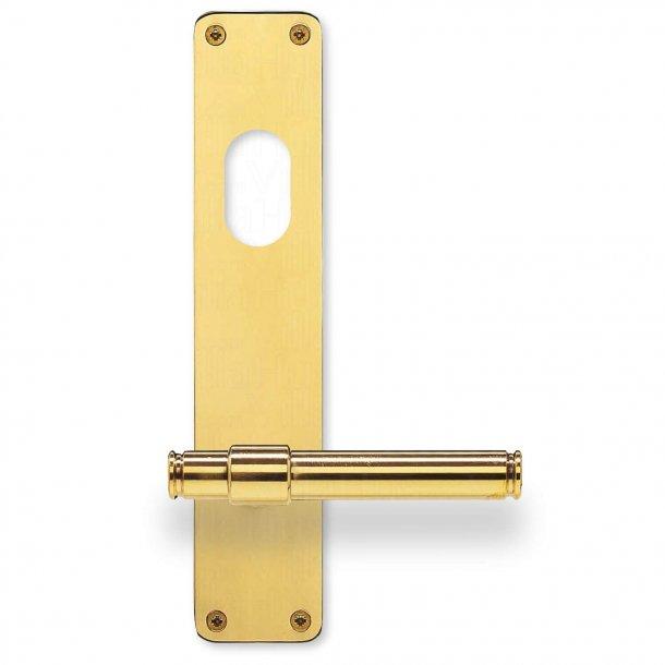 Dørgreb på langskilt - Messing - Dobbelt Cylinder - Randi Classic Line
