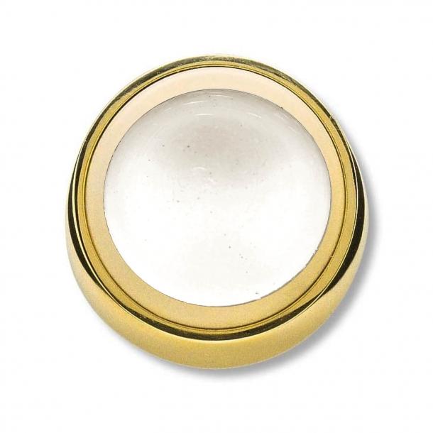 Dørstopper - Poleret messing - Vægmodel - Hvidt anslag - ø50 mm