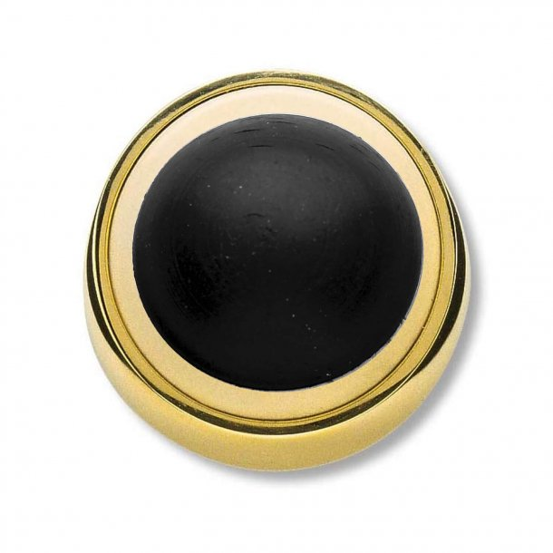 Door stop - Polished Brass - Wall mounted - Black rubber buffer