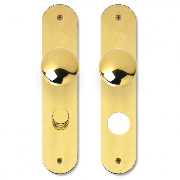 Kugle dørgreb på langskilt - Messing - RUKO 250 - Vridergreb/Cylinderhul - cc69 mm