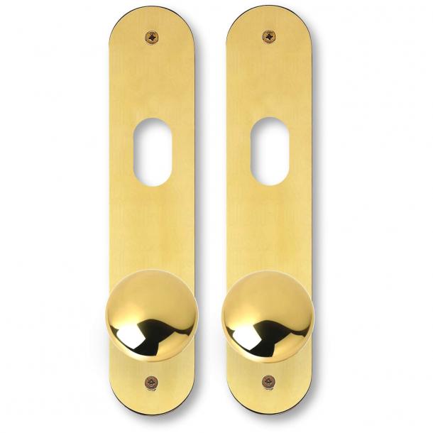 Kugle dørgreb på langskilt - C-form - Messing - ASSA - Cylinderhul - cc105 mm