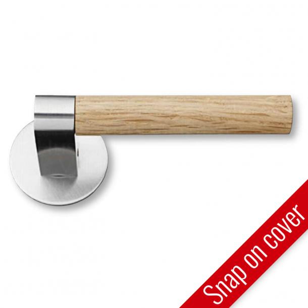 Door handle - Brushed steel - Oak wood - GRATA - Model 1077 - cc38mm - Snap-on-cover