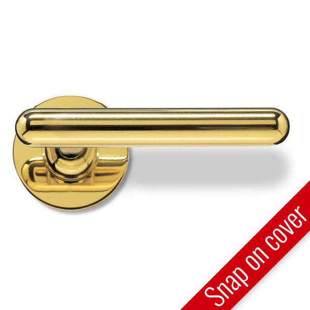 Door handle - Brass - Slim T-shape - RANDI Line - Model 1050 - ø16mm - Snap-on-cover - cc38 mm