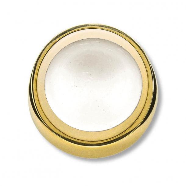 Türstopper - Poliertes Messing - Wandmontage - Weißer Gummipuffer - ø50mm