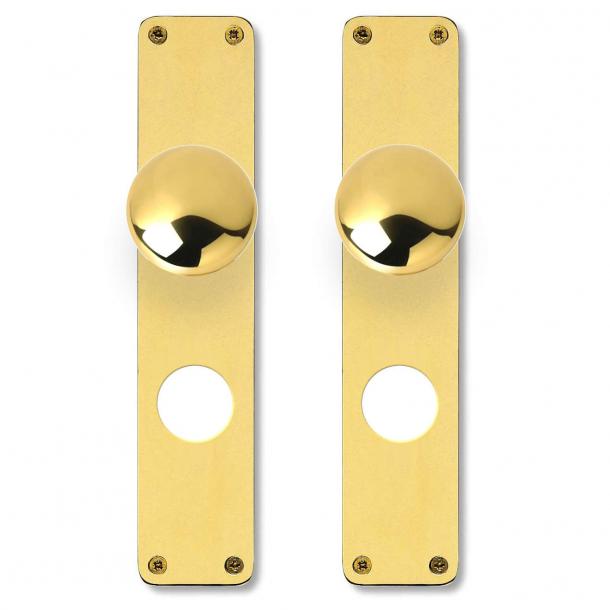 Kugle dørgreb på langskilt - H-form - Messing - RUKO 250 cylinderhul - cc69 mm