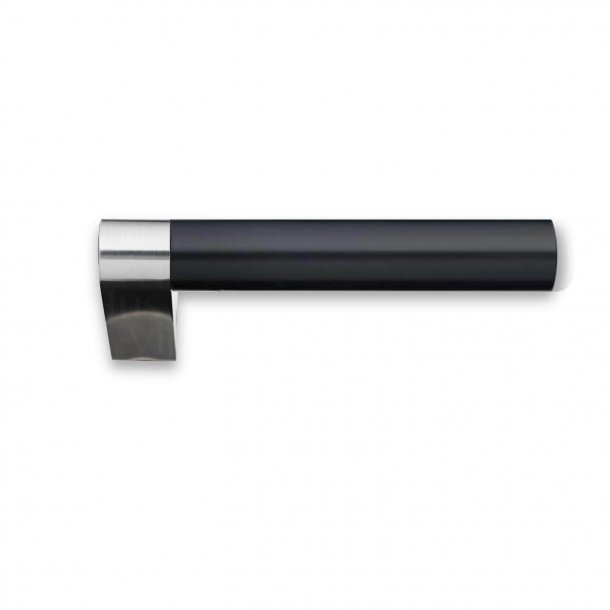 Door handle without rosettes - Stainless steel - Black plastic - GRATA - Model 1077