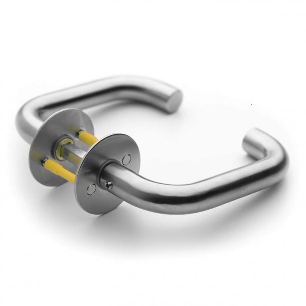 Randi door handle - Classic U-shape - Brushed stainless steel - Model 7020 - ø18 - cc38 mm