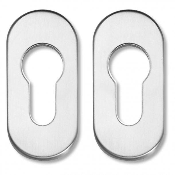 Oval escutcheons, Euro Profile for narrow profile doors, 65x30 mm