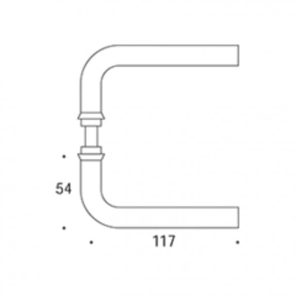 Randi Door handle - L-shape - Stainless steel - Model 1011