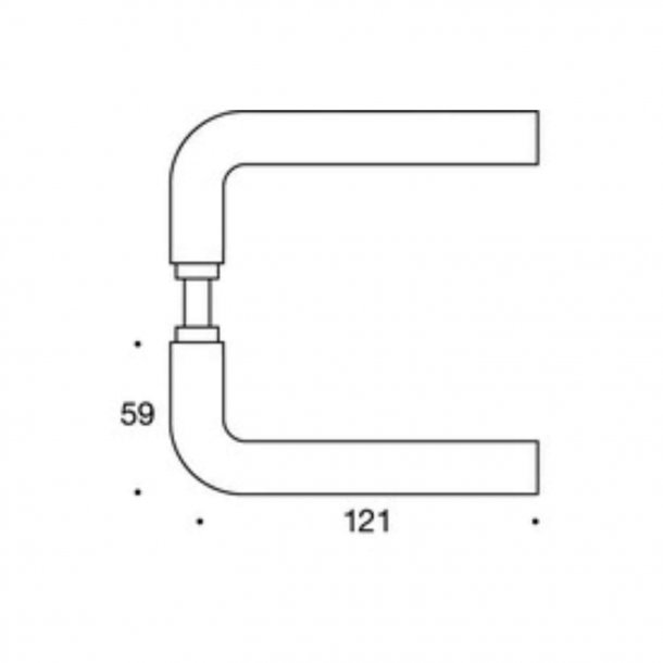 Randi dørgreb - L-form - Rustfrit stål - Model 1021 - 30/38 mm Snap-on-cover