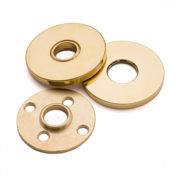 Door handle brass unlacquered - HORNBÆK - Rosette with concealed screws cc30 / 38mm