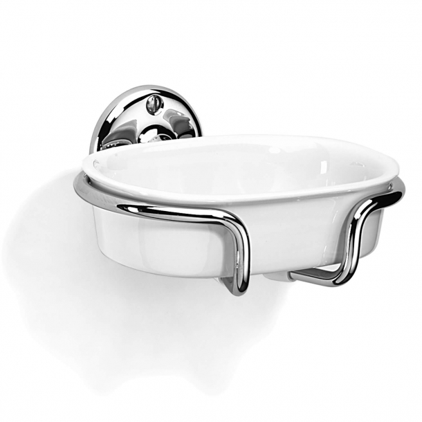 Soap holder - White porcelain and Chrome - wall mounted - Style CURZON