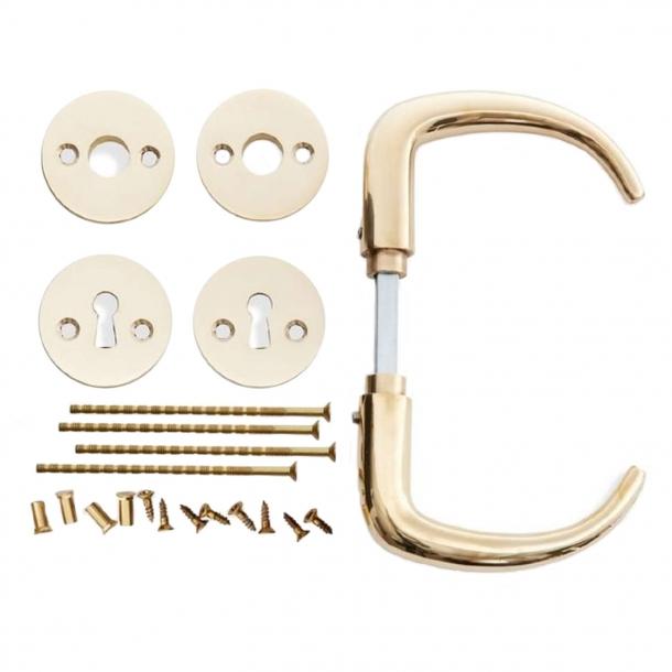 Door handle - Kay Fisker Coupe handle - Brass rosette and escutcheon (200131)