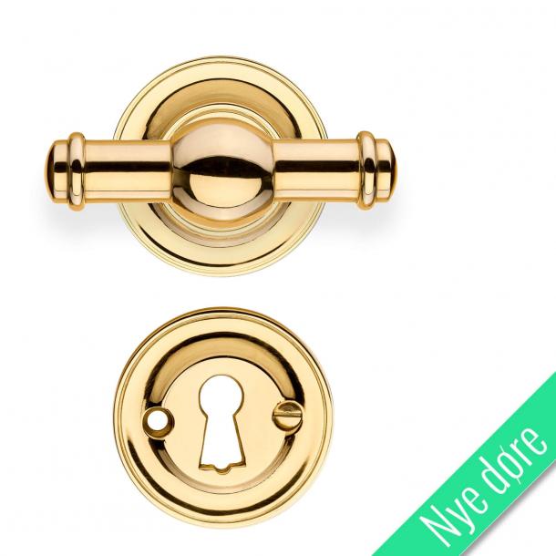 Dörrhandtag med rosett och nyckelplatta - Mässing utan lack - Model HAGMANN - Nya dörrar