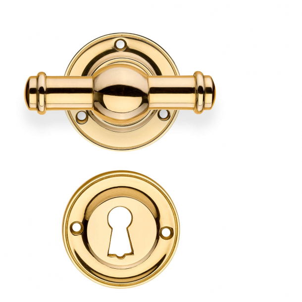 Dörrhandtag med rosett och nyckelplatta - Mässing utan lack - Model HAGMANN