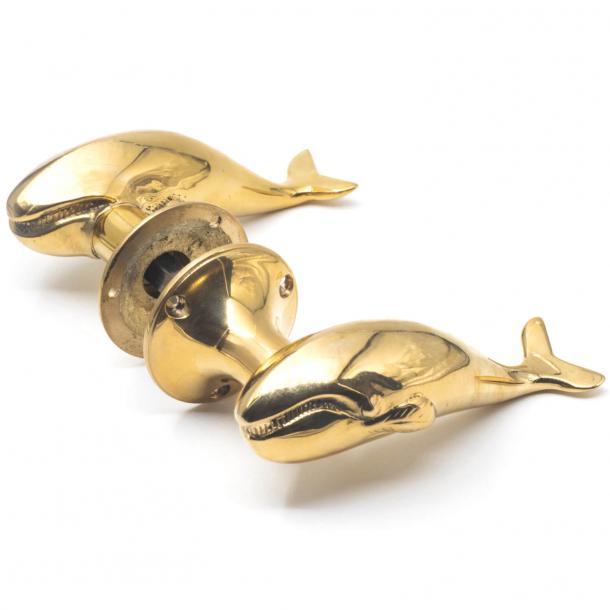 Whale door handle - Brass - Exterior - 138 mm