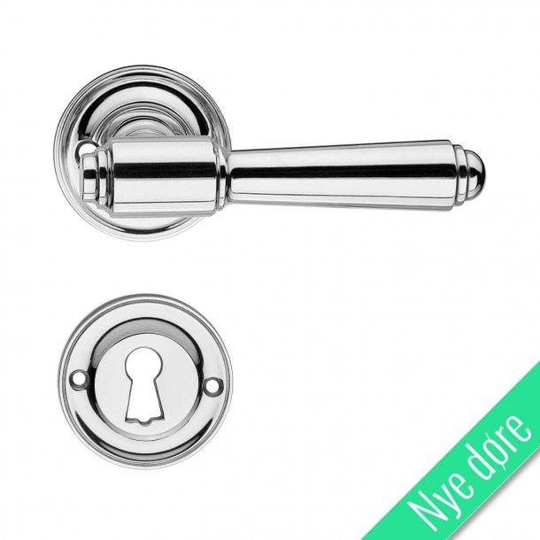 Dørgreb indendørs blank nikkel - Roset/Nøgleskilt - BRIGGS 112 mm - Nye døre